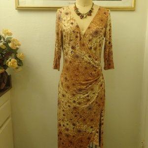A.B.S by Allen Schwartz Sunflower Print Midi Dress